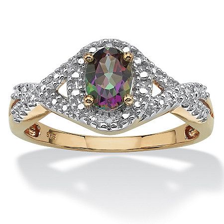 1.10 TCW Oval-Cut Genuine Mystic Fire Topaz and Diamond Accent Two-Tone Ring in 18k Gold over Sterling Silver at PalmBeach Jewelry
