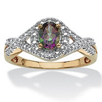 1.10 TCW Oval-Cut Genuine Mystic Fire Topaz and Diamond Accent Two-Tone Ring in 18k Gold over Sterling Silver