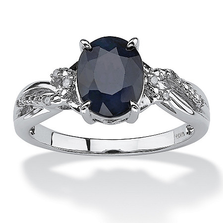2.20 TCW Midnight Blue Oval-Cut Sapphire and Diamond Accent Ring in Platinum over Sterling Silver at PalmBeach Jewelry