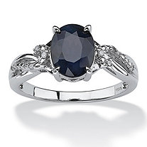 2.20 TCW Midnight Blue Oval-Cut Sapphire and Diamond Accent Ring in Platinum over Sterling Silver