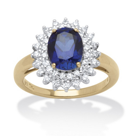 2.60 TCW Oval-Cut Midnight Blue Sapphire & Cubic Zirconia Halo Ring in 18k Gold over Sterling Silver at PalmBeach Jewelry