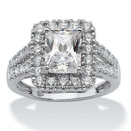 1.89 TCW Emerald-Cut Cubic Zirconia Halo Engagement Ring in Platinum over Sterling Silver at PalmBeach Jewelry