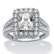 1.89 TCW Emerald-Cut Cubic Zirconia Halo Engagement Ring in Platinum over Sterling Silver