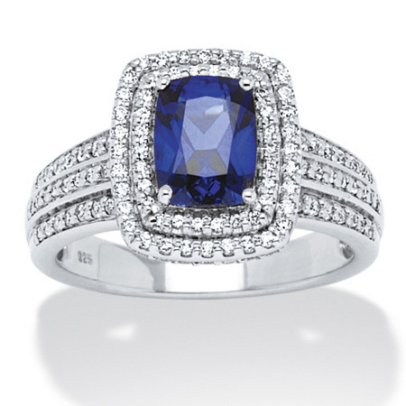1.94 TCW Emerald-Cut Midnight Blue Sapphire and Round Cubic Zirconia Ring in Platinum over Sterling at PalmBeach Jewelry