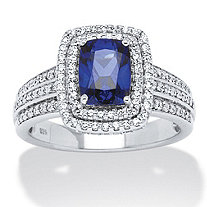 SETA JEWELRY 1.94 TCW Emerald-Cut Midnight Blue Sapphire and Round Cubic Zirconia Ring in Platinum over Sterling