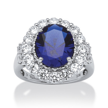 7.39 TCW Oval-Cut Sapphire and Round Cubic Zirconia Ring in Platinum over Sterling Silver at PalmBeach Jewelry