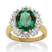 7.08 TCW Created Oval-Cut Emerald Ring with CZ Accents in 18k Gold over Sterling Silver