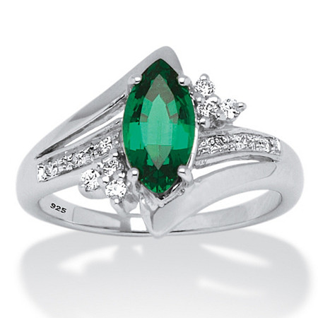 1.52 TCW Marquise-Cut Emerald Ring in Platinum over Sterling Silver at PalmBeach Jewelry