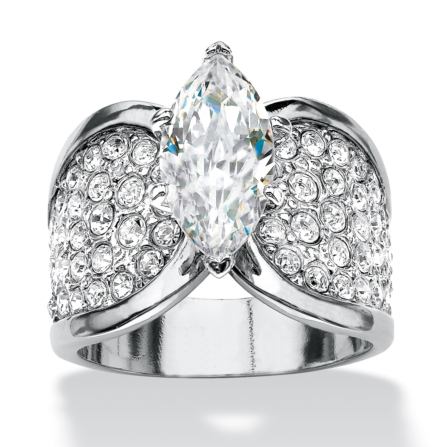 Marquise Cut And Pave Cubic Zirconia Engagement Ring 2 48