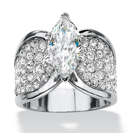 Marquise-Cut and Pave Cubic Zirconia Engagement Ring 2.48 TCW Platinum-Plated at PalmBeach Jewelry