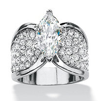 SETA JEWELRY Marquise-Cut and Pave Cubic Zirconia Engagement Ring 2.48 TCW Platinum-Plated