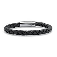 Men's Black Leather Bracelet With Stainless Steel Slip Lock Closure