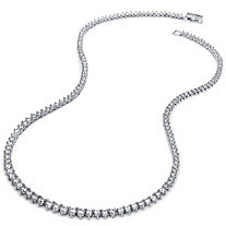 SETA JEWELRY 9.56 TCW Round Cubic Zirconia Eternity Necklace Platinum Plated 18
