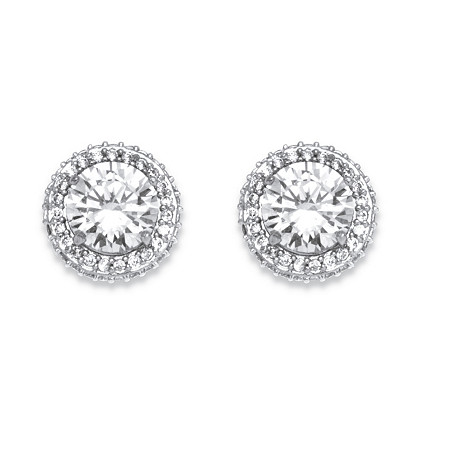 4.91 TCW Cubic Zirconia Stud Earrings Platinum-Plated at PalmBeach Jewelry
