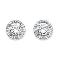 4.91 TCW Cubic Zirconia Stud Earrings Platinum-Plated
