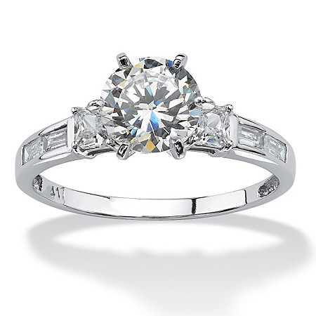 2.14 TCW Round Cubic Zirconia and Baguette Accents Ring in 10k White Gold at PalmBeach Jewelry