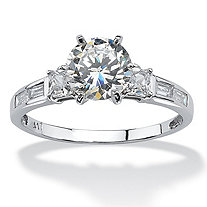 SETA JEWELRY 2.14 TCW Round Cubic Zirconia and Baguette Accents Ring in 10k White Gold