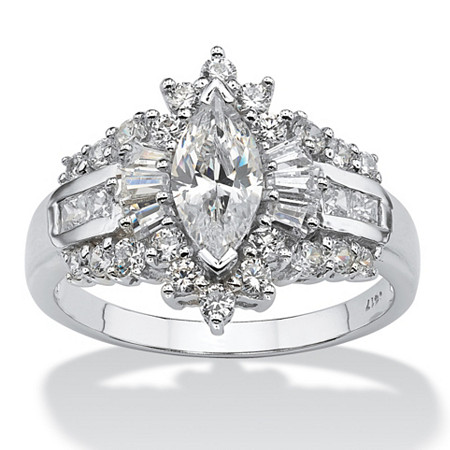 2.19 TCW Marquise-Cut Cubic Zirconia With Round and Baguette Accents Ring in 10k White Gold at PalmBeach Jewelry