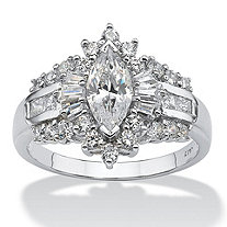 SETA JEWELRY 2.19 TCW Marquise-Cut Cubic Zirconia With Round and Baguette Accents Ring in 10k White Gold