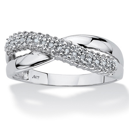 White Diamond Accent 10k White Gold Double Band Crossover Ring at PalmBeach Jewelry
