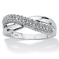 SETA JEWELRY White Diamond Accent 10k White Gold Double Band Crossover Ring
