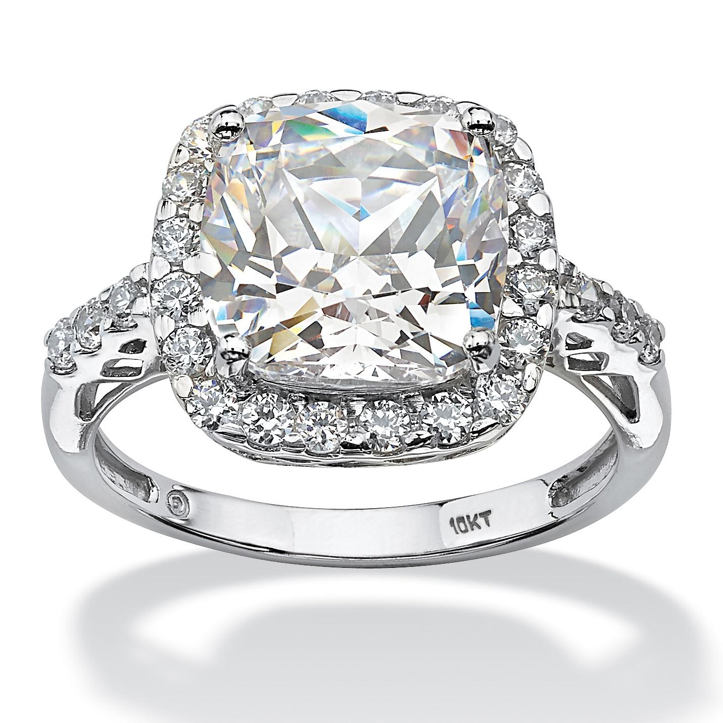 tcw princess cut halo cubic zirconia ring in 10k. Black Bedroom Furniture Sets. Home Design Ideas