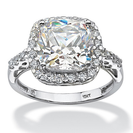 3.20 TCW Princess-Cut Halo Cubic Zirconia Ring in Solid 10k White Gold at PalmBeach Jewelry