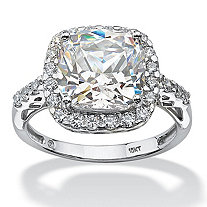 3.20 TCW Princess-Cut Halo Cubic Zirconia Ring in Solid 10k White Gold