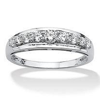 SETA JEWELRY .93 TCW Round Cubic Zirconia Ring in 10k White Gold