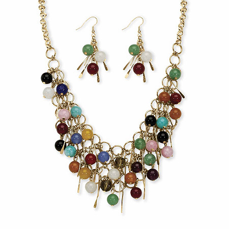 """Multi-Color Genuine Agate Round Bead and Fringe Bib Necklace and Drop Earring Set in Gold Tone 18""""-21"""" at Direct Charge presents PalmBeach"""