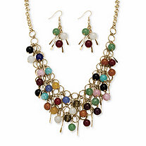 Multi-Color Genuine Agate Round Bead and Fringe Bib Necklace and Drop Earring Set in Gold Tone 18
