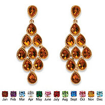Birthstone Chandelier Earrings in Yellow Gold Tone