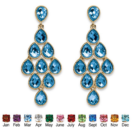 Pear-Cut Birthstone Chandelier Earrings in Yellow Gold Tone at PalmBeach Jewelry
