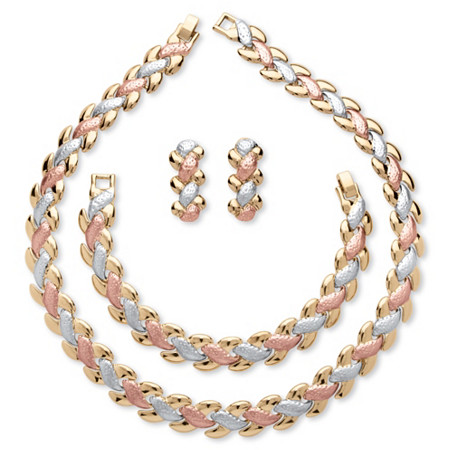 Interlocking Link 3-Piece Tri-Tone Necklace, Bracelet and Earrings Set in Gold, Rose & SIlvertone at PalmBeach Jewelry