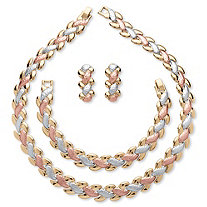 Interlocking Link 3-Piece Tri-Tone Necklace, Bracelet and Earrings Set in Gold, Rose & SIlvertone