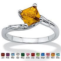 Princess-Cut Birthstone Twist Ring in Sterling Silver