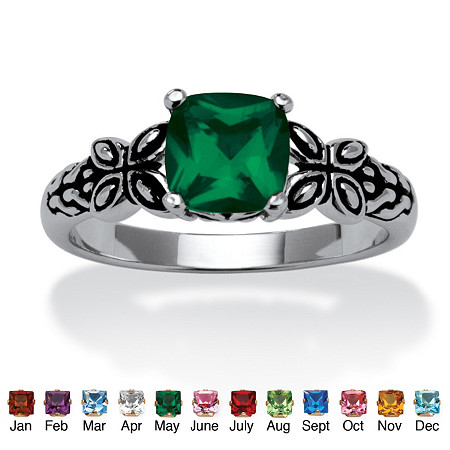 Cushion-Cut Birthstone Butterfly and Scroll Ring in Antiqued Sterling Silver at PalmBeach Jewelry