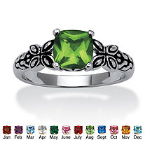 Cushion-Cut Birthstone Butterfly and Scroll Ring in Antiqued Sterling Silver