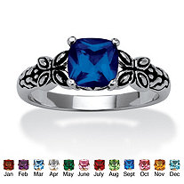SETA JEWELRY Cushion-Cut Birthstone Butterfly and Scroll Ring in Antiqued Sterling Silver