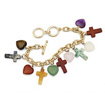 Multicolor Agate Heart and Cross Charm Bracelet in Yellow Gold Tone