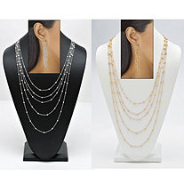 "Waterfall Beaded Necklace and Drop Earring 4-Piece Set in Gold Tone and Silvertone 34""-38"""