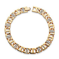 "Men's 1.10 TCW Cubic Zirconia 10 mm Mariner-Link Bracelet 14k Gold-Plated 10"" (10mm)"