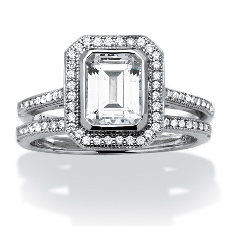 1.76 TCW Emerald-Cut Cubic Zirconia Platinum over Sterling Silver 2-Piece Halo Bridal Ring Set at PalmBeach Jewelry