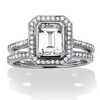 1.76 TCW Emerald-Cut Cubic Zirconia Platinum over Sterling Silver 2-Piece Halo Bridal Ring Set
