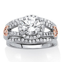 1.93 TCW Cubic Zirconia 3-Piece Bridal Set in Platinum over Sterling Silver with Pink CZ Accents