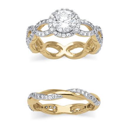2.50 TCW Round Cubic Zirconia Crossover 2-Piece Bridal Set in 14k Gold over Sterling Silver at PalmBeach Jewelry
