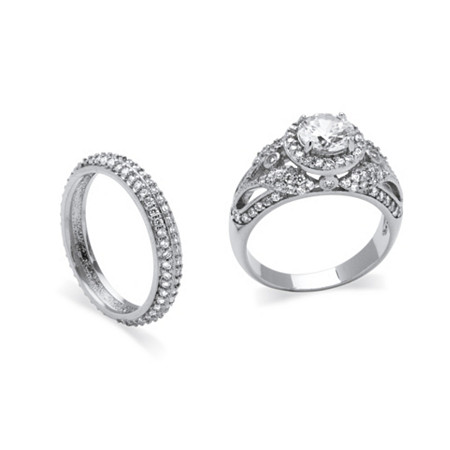 2.60 TCW Round Cubic Zirconia Two-Piece Halo Bridal Set in Platinum over Sterling Silver at PalmBeach Jewelry
