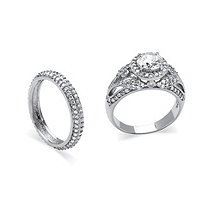 2.60 TCW Round Cubic Zirconia Two-Piece Halo Bridal Set in Platinum over Sterling Silver