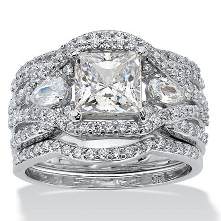 3.12 TCW Princess-Cut Cubic Zirconia Platinum over Silver 3-Piece Crossover Bridal Ring Set at PalmBeach Jewelry
