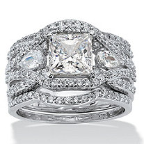 SETA JEWELRY 3.12 TCW Princess-Cut Cubic Zirconia Platinum over Silver 3-Piece Crossover Bridal Ring Set